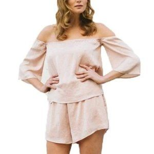 NWOT Off the Shoulder Blush Pink Flowy Romper